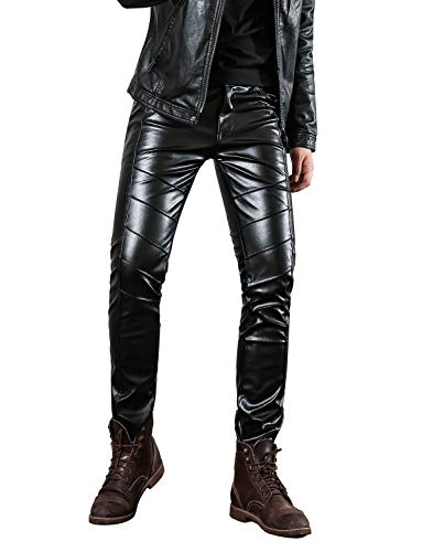 Kostüm Lederhosen Herren - Idopy Herren Slim Fit Soft PU Faux Leder Biker Hose Trachtenlederhose Trachtenlederhose Lederhosen, Schwarz, W34(Taille 84cm)
