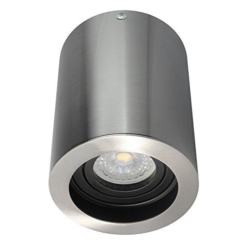 LED Aufbaustrahler Aufbauleuchte Aufputz Deckenleuchte schwenkbar Rund Eisen gebürstet GU10-230V WF13 (Inkl. LED DIMMBAR Warmweiß) -