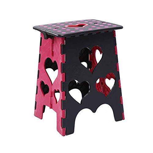 MUMA Pouf pliant les chaises en plastique enfant adulte épaississent multifonctionnel extérieur portatif 33 * 21 * 39cm (Couleur : Black surface black red)