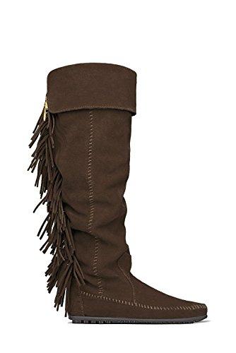 MAJE Chaussures Bottes Longeur 54cm Minnetonka Marron Daim Size 37 Neuf