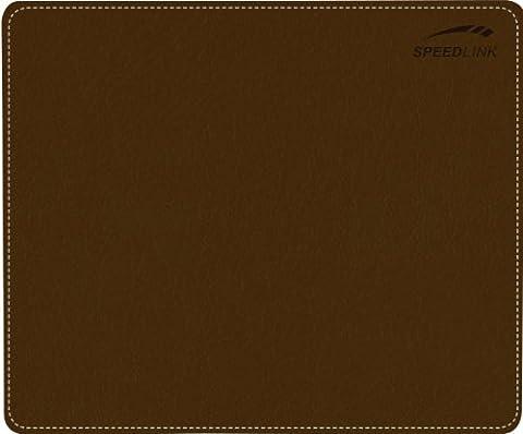 Speedlink Notary Soft Touch Tapis de Souris (Aspect Cuir Élégant, Surface Souple, Bordure Cousue) Marron