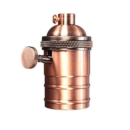 LYXMY Portalámparas Retro de latón Edison, con Enchufe de Cobre Envejecido con Interruptor de Rosca E27/E26, latón Envejecido, Tamaño Libre