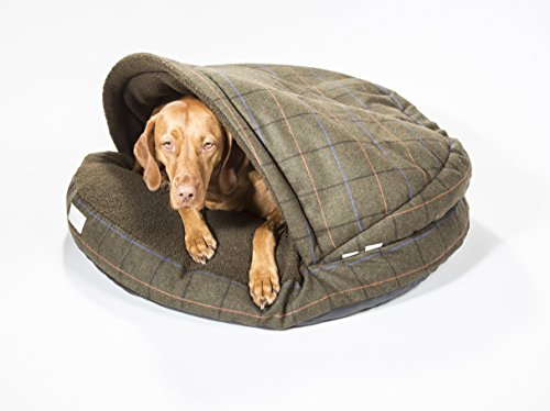 """Collared Creatures Dog Cave Bed, Dog Bed, Large 889mm (35"""") Green Tweed 3"""