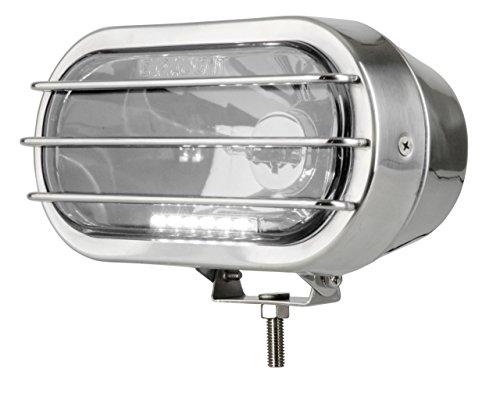 Faro Euralight ovale 250mm con luce posizione LED 12Volt e frana griglia di protezione in acciaio