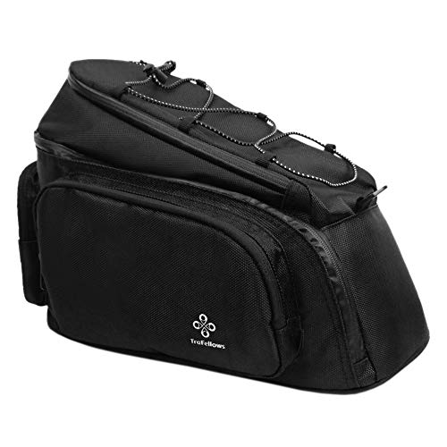 TraFellows Premium Fahrrad-Tasche für den Gepäckträger • Große Gepäckträgertasche mit abnehmbarem Schultergurt für Damen und Herren • Fahrradtasche mit Reflektorschrift für Hinten