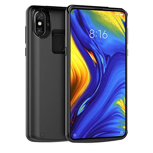 Xiaomi Mi Mix 3 Akku Hülle, 5000mAh Externe AkkuCase Tragbar Aufladbar Batterie Ladehülle Integrierten Ersatzakku Ladegerät Power Bank Backup Extra Pack Schutzhülle Schwarz