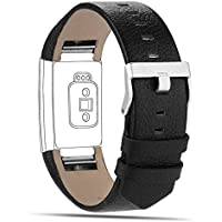 Goosehill Replacement Leather Strap Band Compatible for Fitbit Charge 2, Adjustable Replacement Sport Straps Fitness Wristband