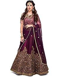 468497d6aa1 Womens Clothy Womens Tafeta Satin Silk Embroidered Semi stitched Lehenga  choli with dupatta Set (Free