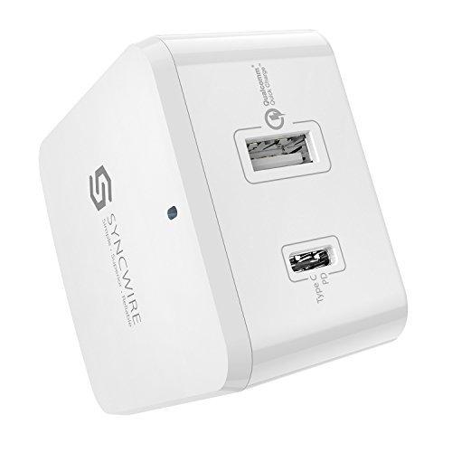 Quick Charge 3.0 USB Ladegerät - Syncwire 48W USB und USB-C Ladegerät mit austauschbarem UK EU US Reiseadapter für Apple MacBook, Nexus 5X/6P und iPhone, iPad, Samsung - Weiß