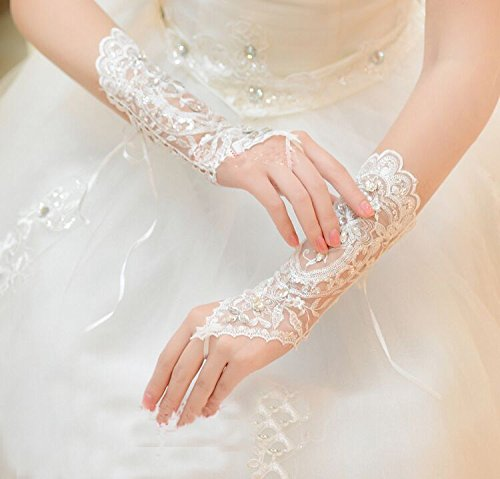 Sunshinesmile Bridal Lace Rhinestone Fingerless Gloves for Wedding Party Prom White by Sunshinesmile