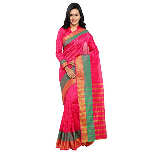 Sarvagny Clothing Women's Pink Chanderi & Poly Silk Kanjivaram Saree with Blouse Piece  available at amazon for Rs.499