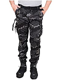 Krystle Men's Cotton Dblack Army Relaxed Fit Zipper Dori Cargo Jogger Pants(Black And White)(Black And White)