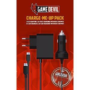 GameDevil Charge Me Up Pack Netzteil + Kfz Ladekabel für Nintendo SWITCH Ladegerät