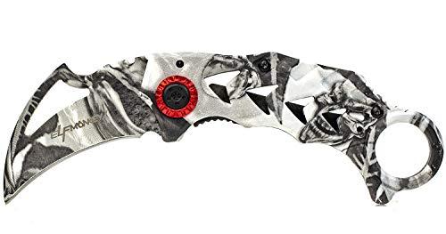 ELFMONKEY Karambit Klappmesser Taschenmesser Einhandmesser Rettungsmesser Outdoor-Messer Angelmesser extra Scharf klein CSGO Knife weiß mit Gürtelclip -