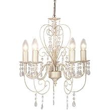 MiniSun - Preciosa lámpara de techo colgante de estilo araña y 5 luces, en estilo vintage 'shabby