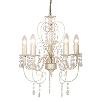 Traditional Cream Ornate Vintage Style Shabby Chic 5 Way Ceiling Light  Chandelier With Beautiful Acrylic Jewels