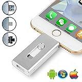 Chiavetta Pendrive 32 GB - Memory Stick con connettore Lightning Micro USB e USB (3 in 1), Compatibile con iPhone iPad IOS Andriod Telefono e Computer (argento)
