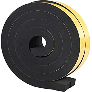Thick Self-Adhesive Type Foam Tape,25mm(W) x20mm(T) Window Door Draught Excluder Jumbo Size Weather Strip Seal,SoundProof Yellow Insulation System Tape,Total 4M Long (2 Rolls of 2M Long Each)