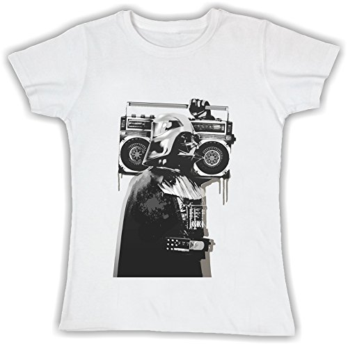 T-shirt DONNA cotone BASIC super vestibilità top qualità - BANKSY DARTH VADER divertenti humor MADE IN ITALY (S, BIANCO)