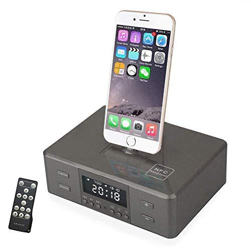 HEDDK Digital Wecker Funk Radio Bluetooth für iPhone XS, XS Max, XR, X, iPhone 8, 7,6 Plus,Schwarz
