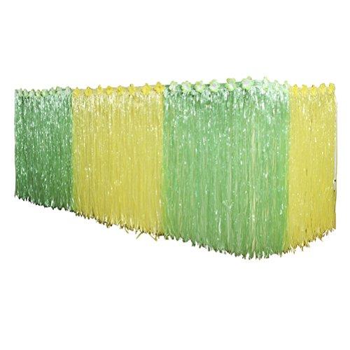LUOEM Tisch Rock für Hawaiian Luau Party Dekoration 276x75 CM (Gelb und Grün)
