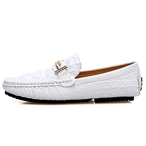 Big Size 48 Men Boat Shoes Leather Male Casual Shoes Slip On Flats Loafers Fashion Men Moccasins White 8