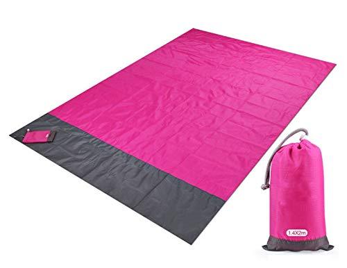 Freude Teppiche Rose (ZHAOLV Tasche Picknick wasserdicht Strandmatte Sand frei Decke Camping Picknick im Freien Zelt Folding Cover Bettwäsche (Color : Rose red, Size : 200x140cm))