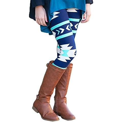 Oyedens Las mujeres flacas ocasionales Señora geométrica de impresión legging los pantalones elásticos delgados de las polainas,