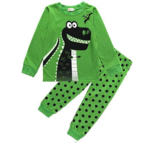 EULLA Jungen Schlafanzug Set Neuheit Cartoon Dinosaurier Bagger Nachtwäsche Lange Ärmel Pyjamas Outfit 86-120 Jahre