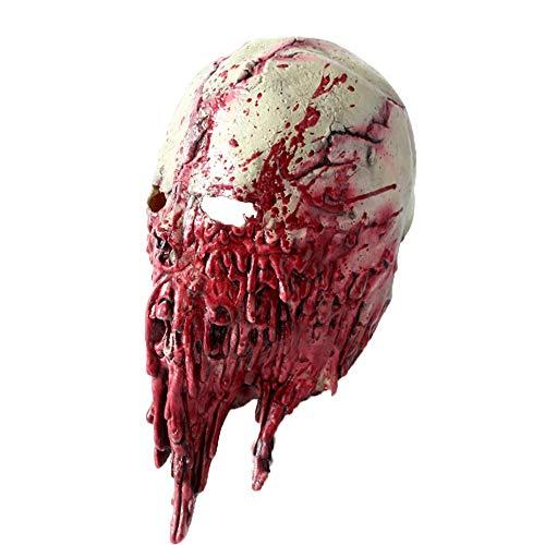 QIMANZI Höllenbestie Monster Dämon Horror Grusel Maske Perfekt für Fasching Karneval Halloween Kostüm für Erwachsene Latex Unisex Einheitsgröße(Rot)