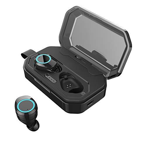 TWS - Auriculares inalámbricos Bluetooth 5.0, con Control táctil, 3000 mAh, Impermeables, Sonido estéreo 3D, Auriculares inalámbricos para Deportes Negro