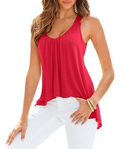 Smile YKK Damen Asymmetrisch Loose Fit Sommer Tief Kragen Oberteil Tank Tops Shirt T-Shirts Pullover Aermellos Rot