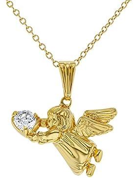 In Season Jewelry Kinder Mädchen - Schutzengel Halskette 18k Vergoldet CZ Zirkonia 40cm