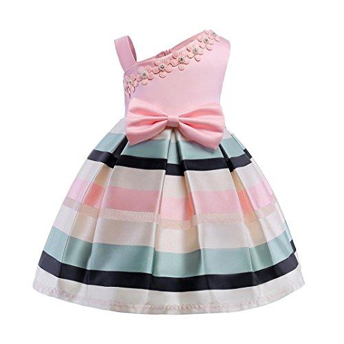 Baumwolle bunt Flickwerk Blumen Prinzessin Kleider Ärmellos blusen Bowknot Mode Hochzeit Dress Mädchen Gemütlich Party Oberteile Kleid,2-8 Jahren alt (8 Jahren, A - Rosa) ()