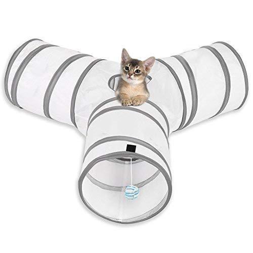 Túnel del juego de gato: Este diseño único atrajo el interés del gato por ingresar a la entrada del túnel, despertando un mayor interés. El amplio túnel de tres juguetes para gatos está hecho de un material respetuoso con el medio ambiente diseñado p...