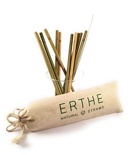 ERTHE wiederverwendbare Bambus-Trinkhalme, 100 % natürlicher, nachhaltiger, grüner Bambus, inkl. 12 schlanke Strohhalme, Reinigungsbürste & Jutebeutel, 100 % biologisch abbaubar, umweltfreundlich