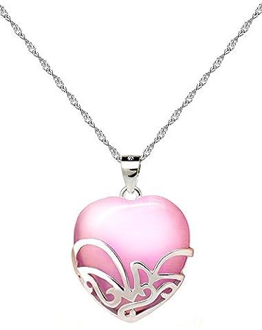 Sterling Sterling Silver Heavy Love Knot Opal Heart Pendant Necklace