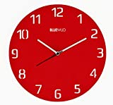 Bluewud Nicholas Laser Cut Acrylic Wall Clock (Red, 12