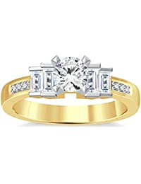 Silvernshine 1.35Ct Round & Buget Cut Clear Sim Dimoands 14K Yellow Gold Plated Engagement Ring