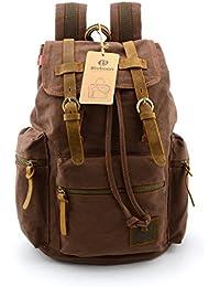 b6cc12f3d5 BLUBOON Vintage Men Casual Canvas Leather Backpack Rucksacks Schoolbag  Satchel Hiking Bag (Coffee) (