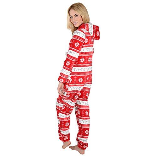 Damen Fleece Einteiler Pyjama mit Schneeflocken Muster – Roter Onesie - 5