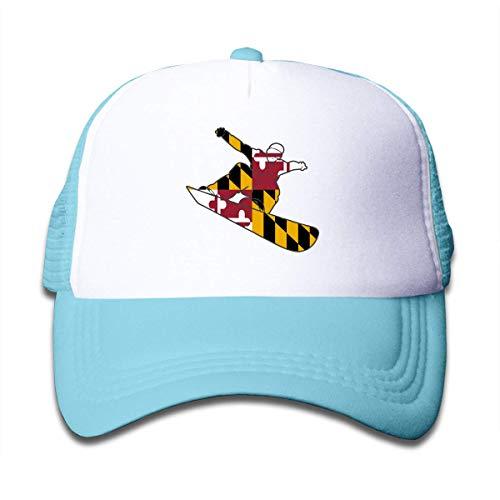 mchmcgm - Mütze Youth Boy and Girls Baseball Caps,Snowboard Maryland Flag Mesh Hat Printing Snapback Hats