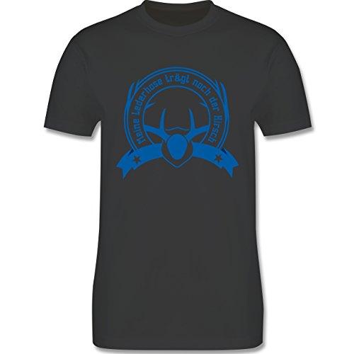 Oktoberfest Herren - Meine Lederhose trägt noch der Hirsch - Herren Premium T-Shirt Dunkelgrau