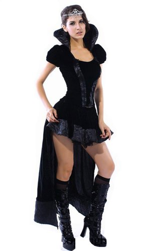spass42 Damen Kleid Lady Evil Nacht Engel Fee Black Queen Dark Angel Kostüm Mittelalter sexy Groesse: S/M
