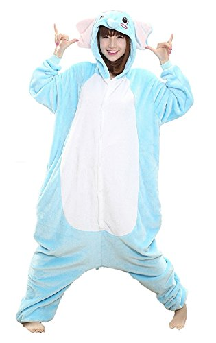 VADOO Winter Warm Flannel Onesie Pajamas Adult Unisex One Piece Jumping Elephant Pajama