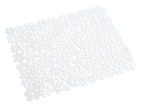 Wenko Flower - Esterilla para el fregadero, de plástico, 31 x 26 cm, color blanco
