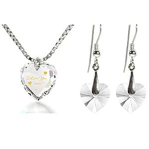 Kristall Herz Schmuckset I Love You More Graviert mit Gold auf Swarovski Anhänger, Kristall Herzohrringe, 45cm