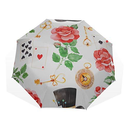 Reise-Taschenschirm Wonderland Cute Bird mit Zylinderhut 3-Fach Kunst-Regenschirme (Außendruck) Kompakter winddichter Regenschirm Mädchen Kompakter Regenschirm Einfacher Taschenschirm -