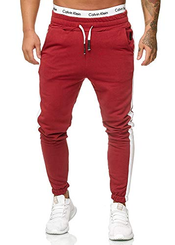 OneRedox Herren Jogging Hose Jogger Streetwear Sporthose Modell 1211 Bordo XXL