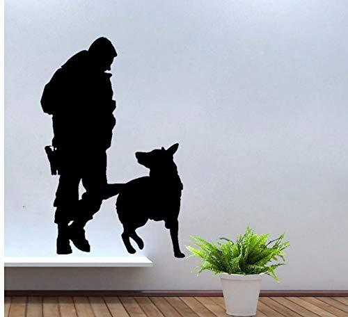 Lvabc 42X64 Cm Polizei Mann Mit Service Hund Wandtattoos Hund Wandzimmer Aufkleber Dekoration Für Jungen Schlafzimmer Kunst Wandbilder